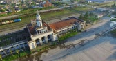 spirál : aerial survey of the railway station in Sukhumi Abkhazia. Stock mozgókép