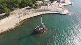 Sevastopol, Crimea-may 30, 2017: aerial survey sights -a monument to the dead ships. Stock Footage