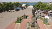 Sevastopol, Crimea-may 30, 2017: Aerial view of the city landscape of Sevastopol with views of the sights Stock Footage