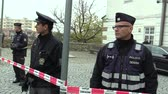 democrat : MOHELNICE, CZECH REPUBLIC, NOVEMBER 9, 2017: President of the Czech Republic Milos Zeman visiting Mohelnice in the Olomouc Region, special police protect presidential corps and luxury cars Stock Footage