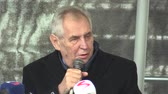 osobnost : MOHELNICE, CZECH REPUBLIC, NOVEMBER 9, 2017: President of the Czech Republic Milos Zeman visiting Mohelnice, president talks about early elections and politics