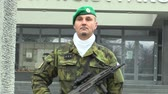 cz : OLOMOUC, CZECH REPUBLIC, NOVEMBER 17, 2017: Elite soldier of the Czech Army with a modern weapon with the assault rifle BREN 805 CZ at the festive moment Stock Footage
