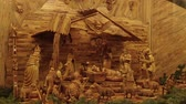 резной : OLOMOUC, CZECH REPUBLIC, DECEMBER 17, 2017: Bethlehem hand carved from wood, beautiful nativity creche statues of Joseph, Mary, Jesus Christ a little baby