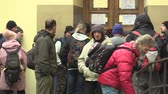 olasılık : OLOMOUC, CZECH REPUBLIC, JANUARY 3, 2018: The homeless charity center for the socially weak, the possibility of asylum to sleep overnight and the provided food and clothes Stok Video