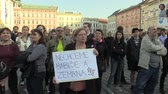 отставка : OLOMOUC, CZECH REPUBLIC, APRIL 9, 2018: Demonstration of people crowd against the Prime Minister Andrej Babis and president Milos Zeman, a banner with we do not want Babis and Zeman