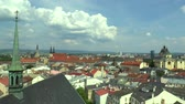 barok : The historical city of Olomouc, view panorama aerial from the tower of the Gothic church of St. Moritz. Gothic cathedral of St. Wenceslas and the Baroque Church of Our Lady of Snow and St Michael