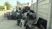 hazardous : OLOMOUC, CZECH REPUBLIC, APRIL 25, 2018: Collection and sorting of electrical waste of monitors, televisions and other electronics. Danger waste for nature and the environment, requires recycling dump