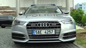 police officers : OLOMOUC, CZECH REPUBLIC, MAY 15 , 2018: Luxury police car of the Audi S6, cars used by Police Protection Service of the Czech, provides protection and security of the protected constitutional agents