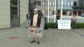 envolto : OLOMOUC, CZECH REPUBLIC, MAY 15 , 2018: Demonstration of people against the Prime Minister Andrej Babis a banner with the I love OLAF, not to be afraid or to use it, European Anti Fraud Office