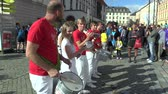elite : OLOMOUC, CZECH REPUBLIC, JUNE 23 , 2018: Half Marathon race run Olomouc 9th, Banda Grande drum group, Brazilian and ethnic music band and shows at festivals and sports events, Europe