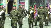 cz : OLOMOUC, CZECH REPUBLIC, JUNE 29 , 2018: The elite army troop of the Czech Republic is armed is coming square, the flag and the emblem of the Czech and the flag of the Army, soldiers with a uniform