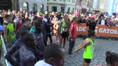 başlangıç : OLOMOUC, CZECH REPUBLIC, JUNE 23 , 2018: Public presentation of elite runners before start of half marathon race in Olomouc celebrity Kenya and Ethiopia Stephen Kiprop, Abel Kipchumba