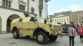 cz : OLOMOUC, CZECH REPUBLIC, JUNE 29 , 2018: The Dingo 2 ATF CZ 4x4 vehicle is characterized by its high resistance to mines and projectiles of small arms, day of the army of the Czech Republic, people