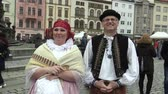 čeština : OLOMOUC, CZECH REPUBLIC, APRIL 1, 2018: Men and woman in the traditional folk costume of Hana at the great Easter celebrations holidays in Olomouc on the Dolni Square, Paschal people are happy