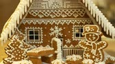 Gingerbread house and cottage cake beautiful, tree with houses and snowman, decorated with a confectionery white icing with beaten egg whites, folk creative work, Christmas time, winter snow Vídeos