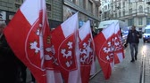 capitalisme : BRNO, CZECH REPUBLIC, MAY 1, 2019: March of radical extremists, suppression of democracy, against the government of the Czech Republic, against refugees and Gypsy, police riot, flags