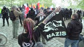 レスポンス : BRNO, CZECH REPUBLIC, MAY 1, 2019: Gegen Nazis, Good Night White Pride flag is anti-fascist movement created by German hardcore punk scene in response neo-Nazis, female student girl demonstration 動画素材