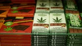 PRAGUE, CZECH REPUBLIC, SEPTEMBER 9, 2019: Cannabis chocolate shop or store Prague, packaged hemp CBD cocoa rick seeds leaf symbol, weed goods for sale, Europe