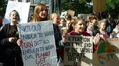 BRNO, CZECH REPUBLIC, SEPTEMBER 20, 2019: Friday for future, demonstration against climate change, banner detention isnt the end of the world climate crisis is, students crowd ecology 動画素材