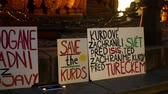 PRAGUE, CZECH REPUBLIC, OCTOBER 17, 2019: Demonstration against Turkey banners flag sign Erdogan get out of Rojava, save the Kurds, Kurds saved the world from the Isis Islamic State