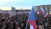 dimissioni : PRAGUE, CZECH REPUBLIC, NOVEMBER 16, 2019: Demonstration people crowd against Prime Minister Andrej Babis demise, 300,000 mass protesters throng Letna Prague, flags and banners, Benjamin Roll activist