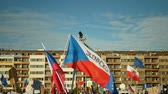 PRAGUE, CZECH REPUBLIC, NOVEMBER 16, 2019: Demonstration of people crowd against Prime Minister Andrej Babis demise, 300,000 mass protesters crowd throng of activists Letna Prague, flags and banners Stok Video