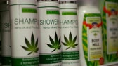 PRAGUE, CZECH REPUBLIC, SEPTEMBER 9, 2019: Cannabis shower oil gel shampoo vitamins shop or store Prague, packaged hemp cannabidiol CBD, leaf symbol, packaging plastic Stok Video