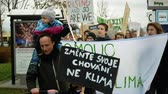 değil : OLOMOUC, CZECH REPUBLIC, NOVEMBER 30, 2019: Friday for future, demonstration against climate change, banner sign change your behavior, family father and children, people crowd students activists