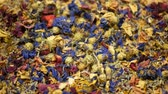 수레 국화 : Herbal tea dried blend mixture of rose, cornflower, hibiscus, thyme leaf petals and mother-of-tea for high-quality teas as well as decorative. traditional folk medicine, diseases hectic stressful 무비클립