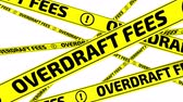 overdue : Overdraft fees. Yellow warning tapes in motion Stock Footage