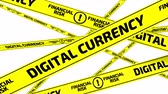 esgrima : Digital currency. Financial risk. Yellow warning tapes