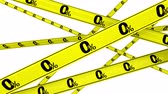 percentage : Zero percentage. Yellow warning tapes