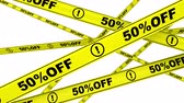 atenção : 50 percentage off. Yellow warning tapes with text 50% OFF. Footage video