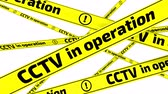 фехтование : CCTV in operation. Yellow warning tapes in motion Стоковые видеозаписи