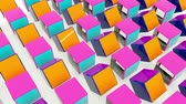 branding : Colorful rotating cubes. Abstract 3d rendering of geometric shapes. Computer generated loop animation. Stockvideo