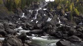fırtınalı : Powerful cascade waterfall Uchar. Altai mountains, Siberia, Russia. Stok Video