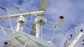 навигацион судно : White Radar Equipment Against Sky on Cruise Ship