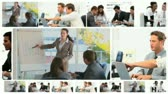 Montage of business meetings