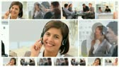 Montage of communicating business people