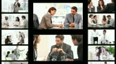 Montage of business people in different situations at work