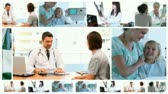 Montage of doctors with their patients