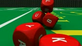 playful : 3D rolling red dices against a bright casino background