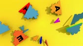 union : 3d pieces forming the word teamwork falling against  a yellow background