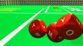 playful : Rolling red dices against a bright casino background Stock Footage