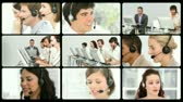entrepreneur : Montage of service customer agents at work in HD