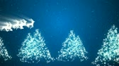 Animation of Santa Claus and reindeer flying over the trees and snow. Christmas