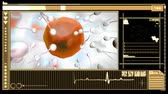 ovaries : Medical digital  interface showing egg cell fertilization in orange and black