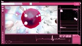 ovaries : Medical digital interface showing fertilization of pink egg by sperm on pink and black background
