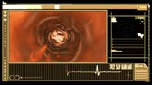 coagulation : Medical digital interface displaying bloodflow through vein in orange and black Stock Footage