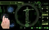 coagulation : Medical video montage of vein interiors in blue on menu with revolving green and black man